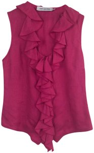 Anne Fontaine Ruffle Laceup Italy40 Linenblouse Top Pink