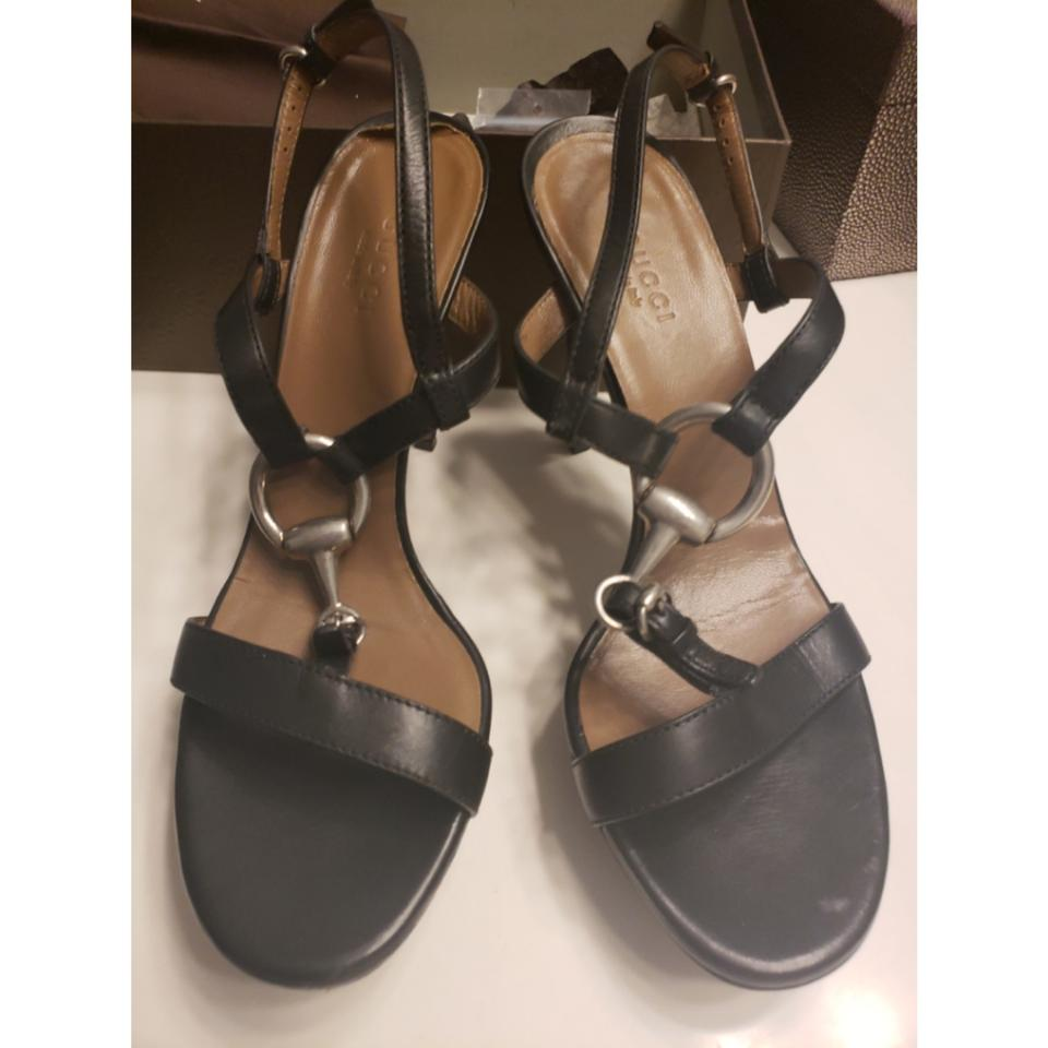 abf70dbfdc2 Gucci Black with Silver Accents Leather Heels Platforms Size US 8.5 Regular  (M