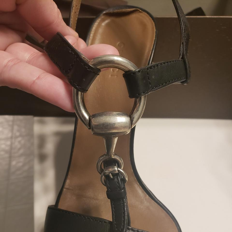 8b56da904cf Gucci Black with Silver Accents Leather Heels Platforms Size US 8.5 ...