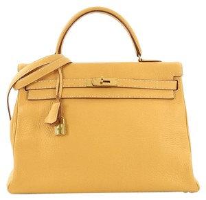 Hermès Kelly Leather Tote in Natural Sable yellow