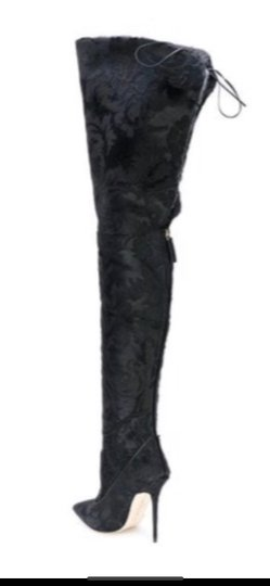 Manolo Blahnik Rihanna X Over The Knee Thigh High black Boots Image 1