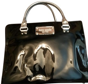 Kate Spade Mirror Patent Leather Hardware Leather Monogram Tote in Black Silver