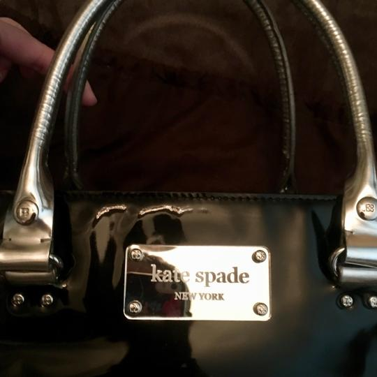 Kate Spade Mirror Patent Leather Hardware Leather Monogram Tote in Black Silver Image 1