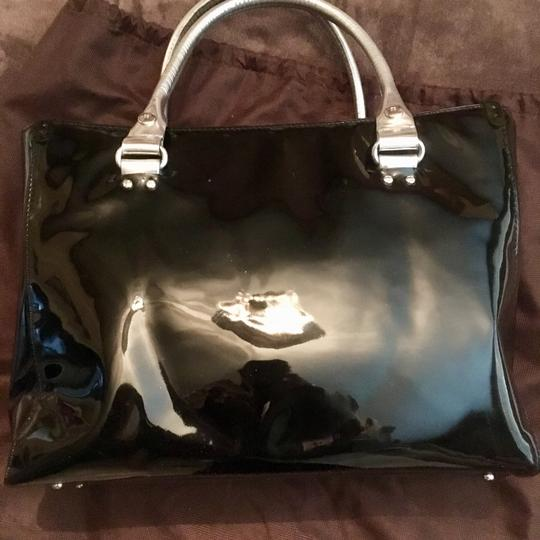 Kate Spade Mirror Patent Leather Hardware Leather Monogram Tote in Black Silver Image 2