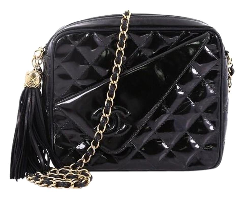 a60fa9ceb0e3 Chanel Camera Vintage Tassel Quilted Medium Black Patent Leather Cross Body  Bag