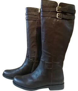 Franco Sarto Leather Ridin Knee-high Pebbled Leather Brown Boots