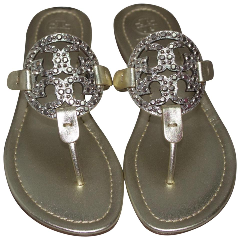 3bf0d2aa8 Tory Burch Gold Embellished Miller Sandals Size US 7 Regular (M