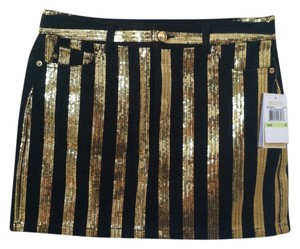 Michael Kors Mini Skirt Black Gold Sequins