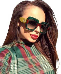 Gucci New Gucci GG0102S 006 Multicolored Glitter Square Sunglasses