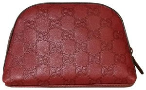 Gucci Gucci Leather Cosmetic Bag in Cherry Red