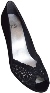 Stuart Weitzman Chantelle Crystals Satin And Lace Rhinestones Black Pumps