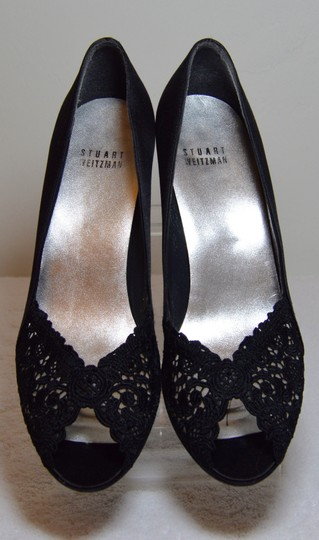 Stuart Weitzman Chantelle Crystals Satin And Lace Rhinestones Black Pumps Image 2