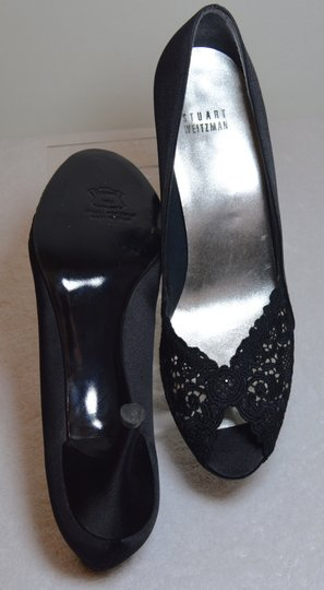 Stuart Weitzman Chantelle Crystals Satin And Lace Rhinestones Black Pumps Image 5