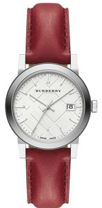 Burberry New Burberry Women's City Red Leather Strap White Dial Watch BU9129