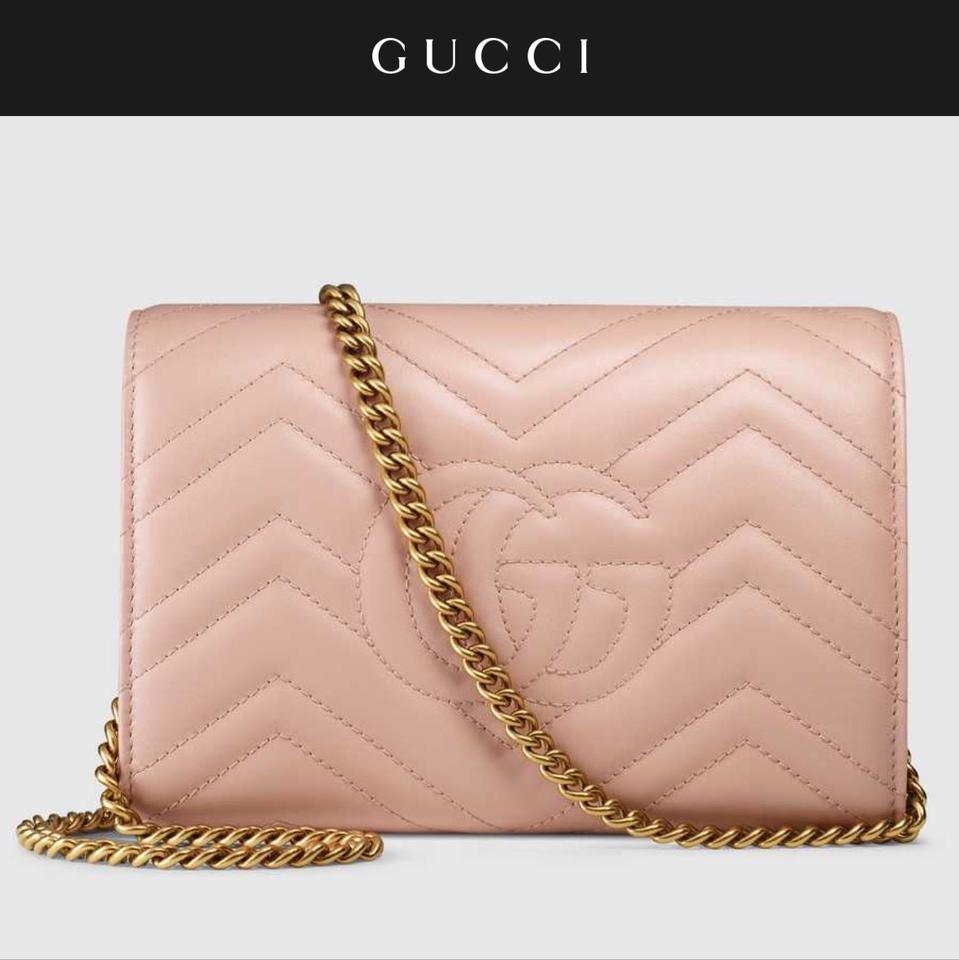 a58ec789c0c Gucci Marmont Wallet On Chain Nude Pink Leather Shoulder Bag - Tradesy