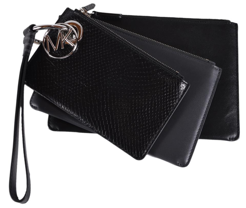 f59457543b76 Michael Kors Leather Pouch 32f8sf9u7n Wristlet in Charcoal Image 0 ...