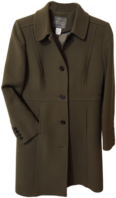 Item - Olive Green Italian Double-cloth Wool Lady Day Coat Size Petite 8 (M)