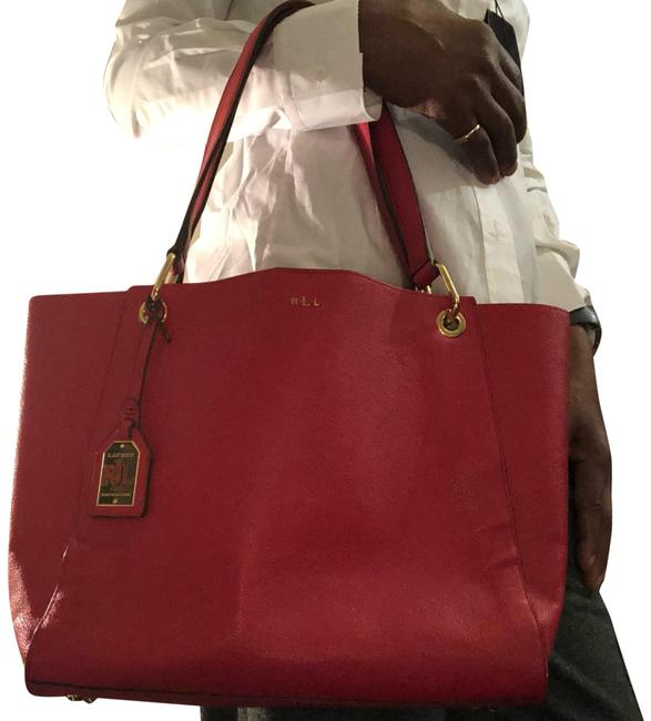 Item - Gold Red Leather Tote
