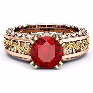 Fashion Jewelry For Everyone Rose Gold 925 Sterling Silver Over Floral Red Stone Size 7 8 Ring