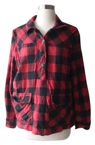 J.Crew Plaid Buffalo Check Buttons Button Down Shirt Black and Red