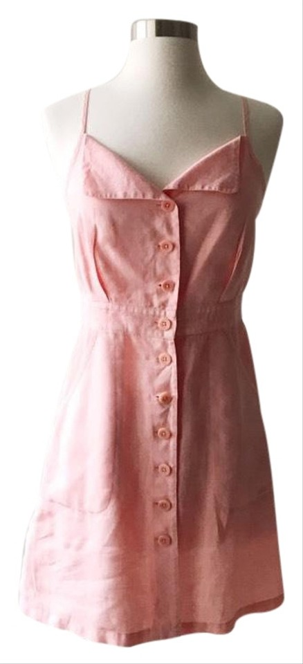 b8032dc570a9f Juicy Couture Light Pink Linen Button Up Front Short Casual Dress ...