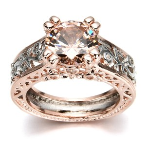Fashion Jewelry For Everyone Rose Gold 925 Sterling Silver Over Floral Champagn Stone Size 7 8 Ring