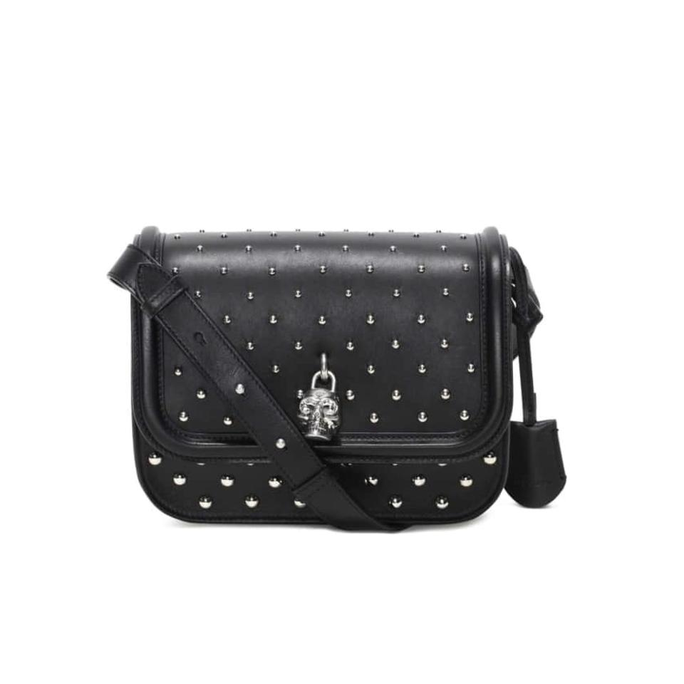 Alexander Mcqueen Classic Skull Small Studded Padlock Black Silver Calfskin Leather Cross Body Bag 55 Off Retail