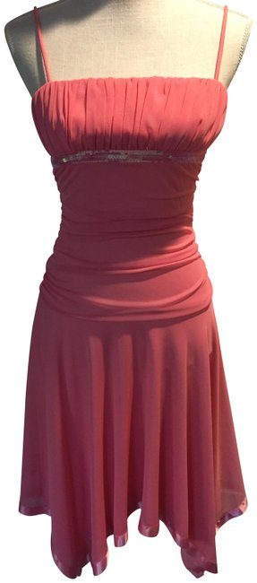 Item - Coral Sequin Trim Short Night Out Dress Size 8 (M)