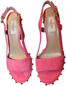 Valentino Leather Studded Pink Platforms