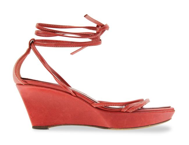 Item - Red Leather Rive Gauche Wedges Size EU 35 (Approx. US 5) Regular (M, B)