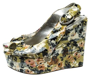 Dolce&Gabbana Patent Leather Peep Toe Wedge Slingback Multicolor Sandals