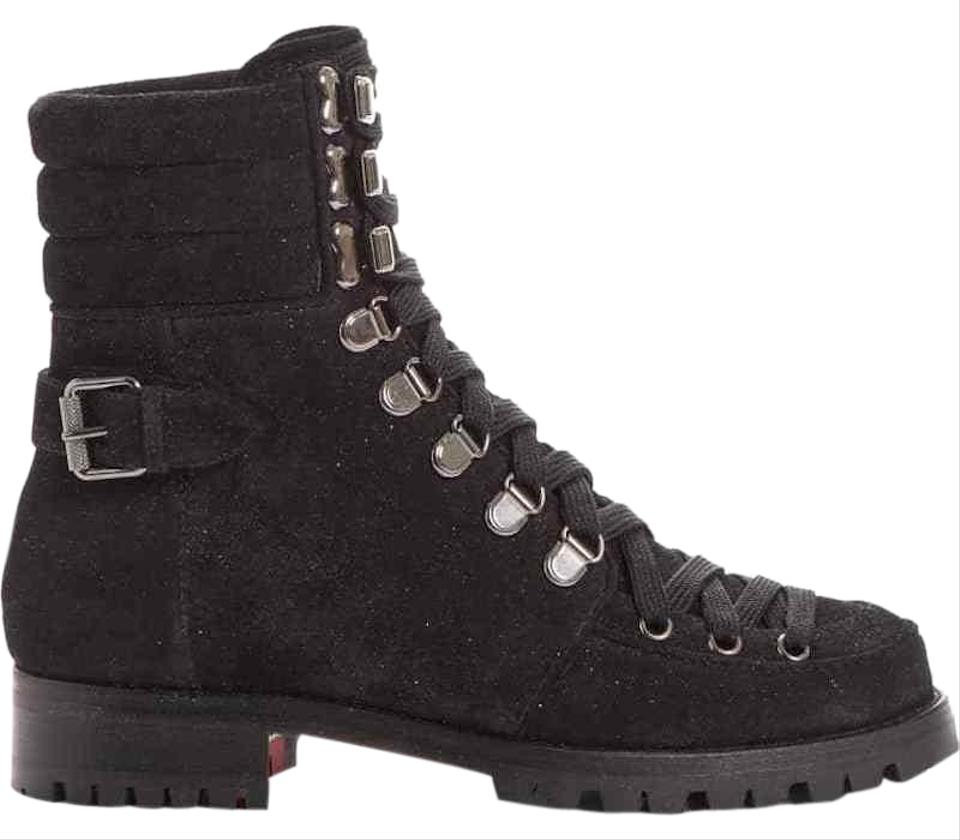 official photos 05f36 e6546 Christian Louboutin Black Who Runs Flat Crosta Star Lace Up Tie Military  Combat Ankle Boots/Booties Size EU 35.5 (Approx. US 5.5) Regular (M, B)