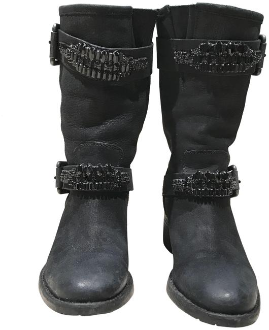 Item - Black Leather Bejeweled Buckle Biker Boots/Booties Size US 7.5 Regular (M, B)
