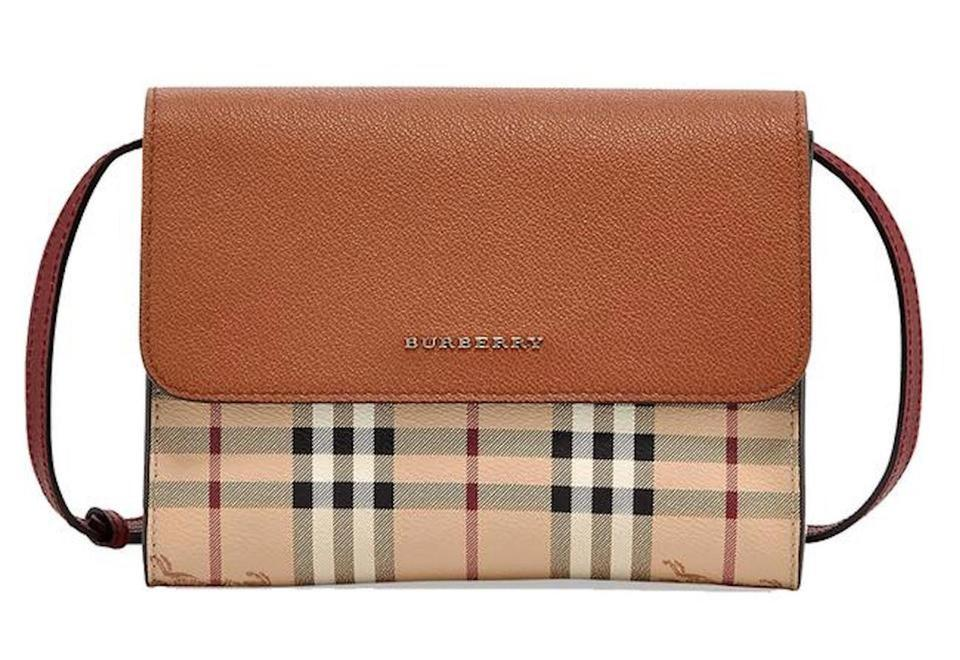342ee788ada Burberry Haymarket Check Loxley Womens Bright Toffee Leather Cross ...