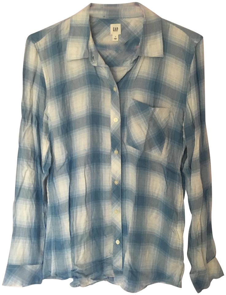 92f085b0 Gap Light Blue and White Plaid Women's Flannel Button-down Top Size ...