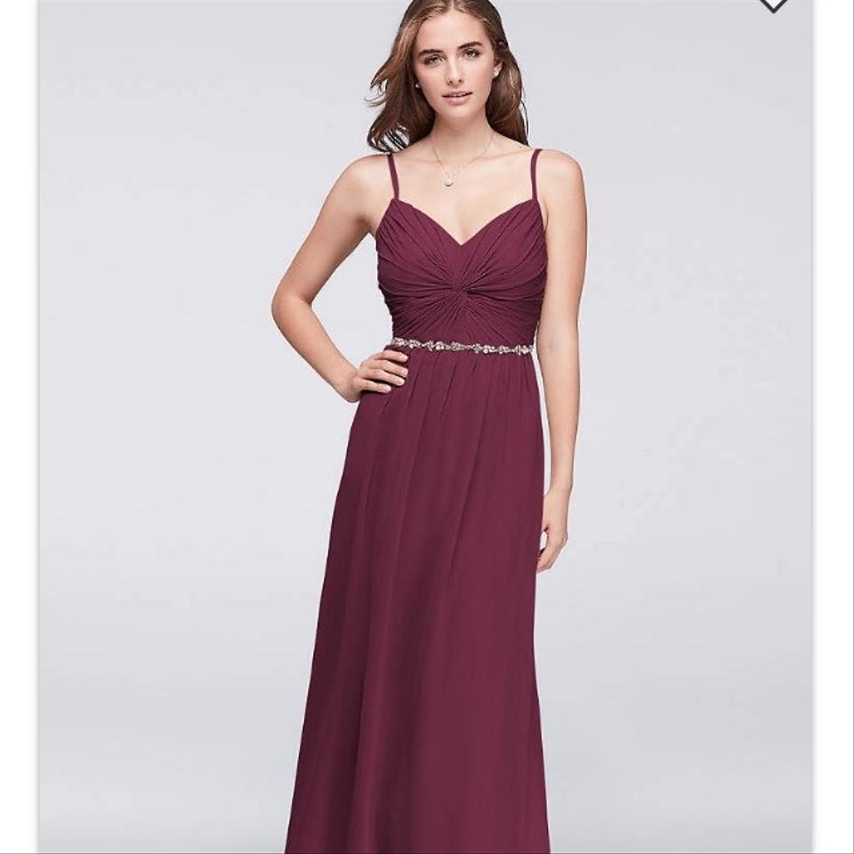acc93f6ef0699 David s Bridal Wine Chiffon W11147 Formal Bridesmaid Mob Dress Size 12 (L)  Image ...