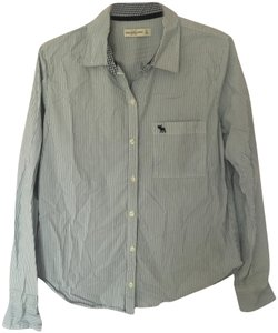 Abercrombie & Fitch Pinstripe Button Down Shirt Light blue and white