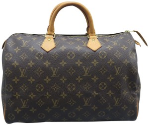 Louis Vuitton Lv Speedy 35 Canvas Tote in brown