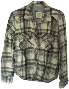 Abercrombie & Fitch Flannel Lined Thick Multicolor Button Down Shirt Blue, light red, natural