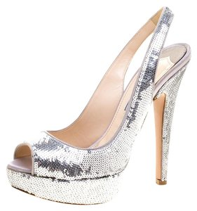 c2f31a3383b Prada Sequins Embellished Peep Toe Platform Metallic Sandals