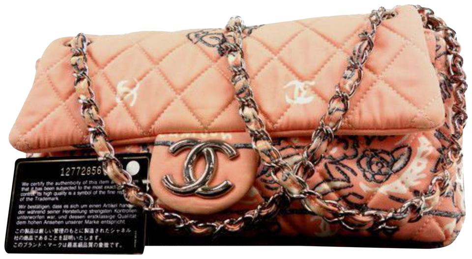 b5bf41ac8e7b Chanel Classic Quilted Paisley Floral Chain Flap 233990 Pink Canvas  Shoulder Bag