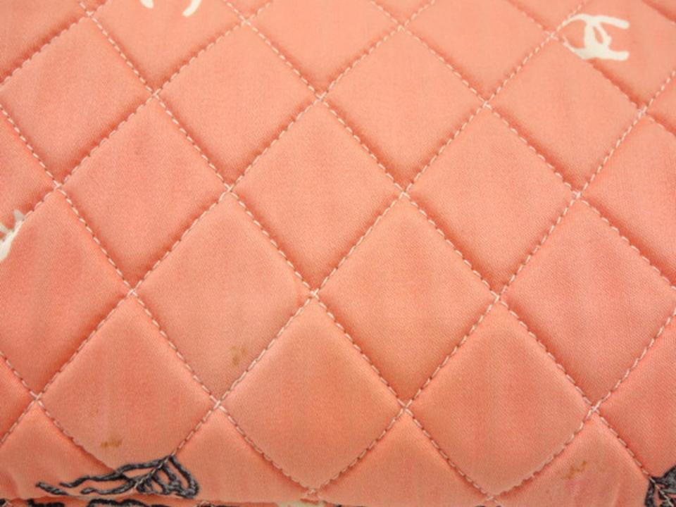 5a613ba155d8 Chanel Classic Quilted Paisley Floral Chain Flap 233990 Pink Canvas ...