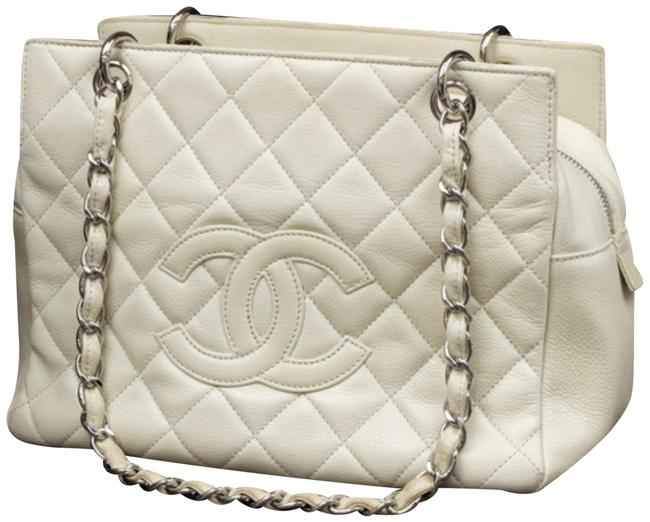 Item - Shopping Tote Quilted Caviar Petite 233992 Off-white Leather Shoulder Bag