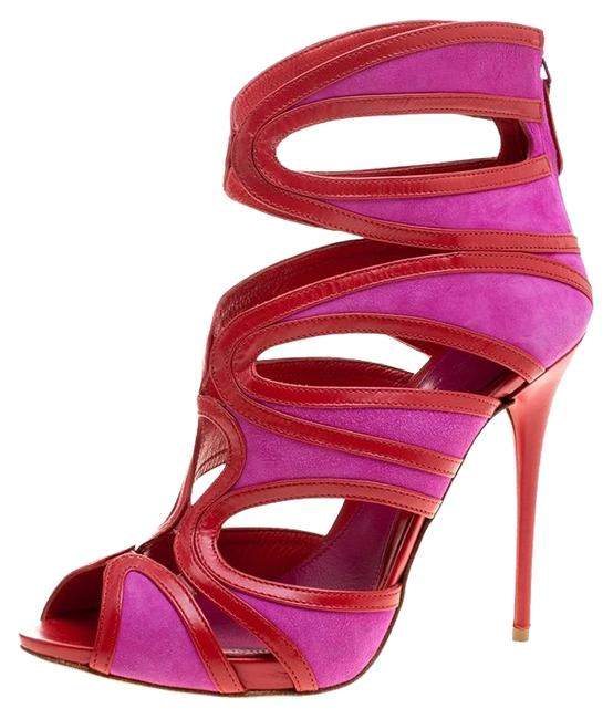 Item - Pink Two Tone Suede and Leather Cut Out Peep Sandals Size EU 38.5 (Approx. US 8.5) Regular (M, B)