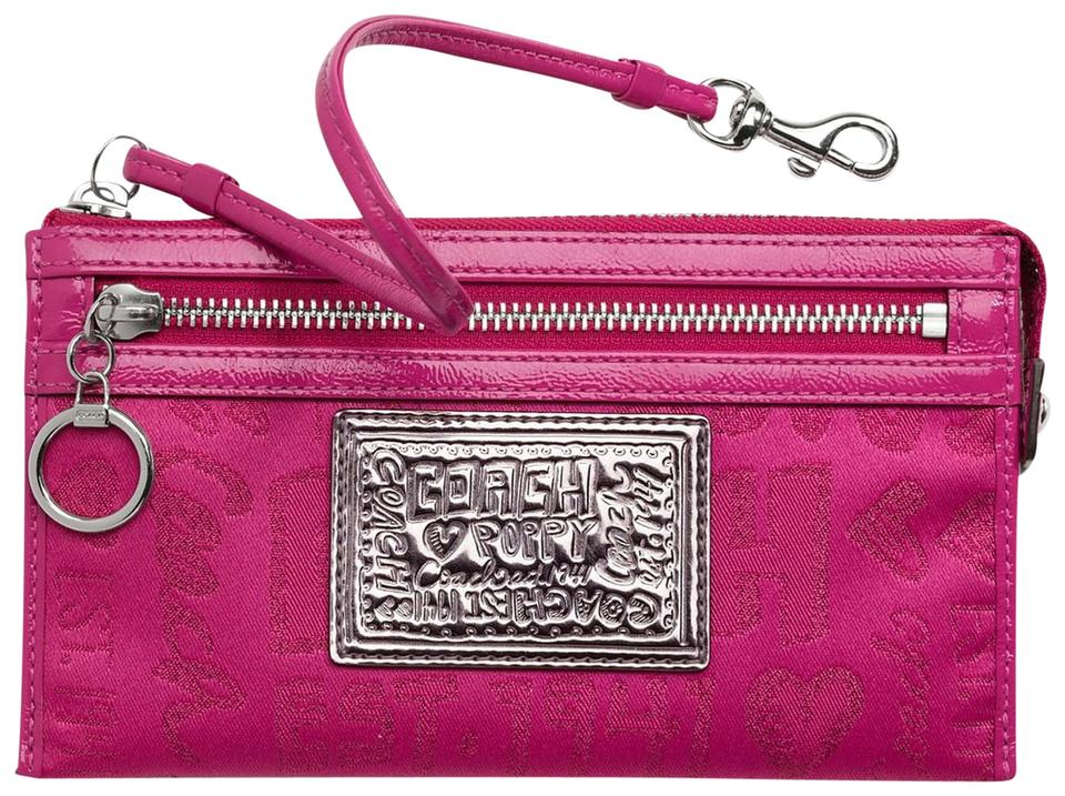 e3f5f388 Coach Zippy Wallet Poppy Storypatch Pink/Silver Sateen/Patent Leather/Nylon  Wristlet 65% off retail