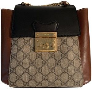 057716d1c Gucci Padlock GG Supreme Brown Leather Backpack - Tradesy