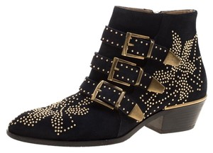 Chloé Suede Studded Ankle Black Boots