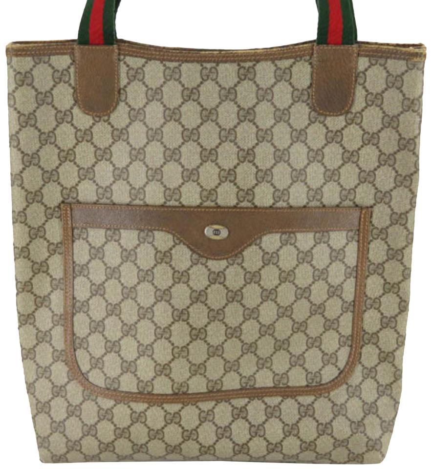 2a8e9b543700ea Gucci Shopping Sherry Supreme Monogram Gg Web Large 869742 Brown Coated  Canvas Tote