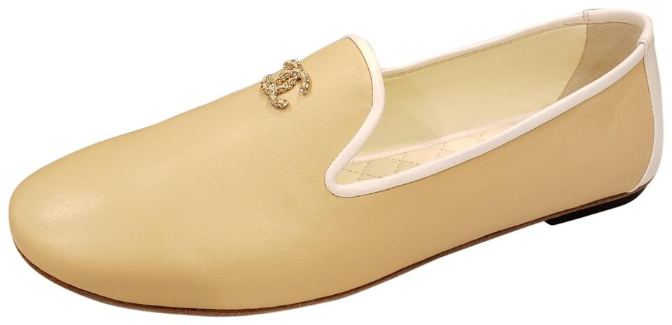 75e9856cb7d Chanel Light Beige Rev Lambskin Leather Cc Loafers Moccasin Flats ...