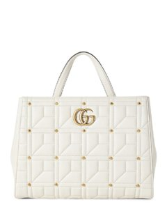 b43a8390886 Added to Shopping Bag. Gucci Studded Tote in White. Gucci Marmont Studded Matelassé  Gg Medium Top Handle White Leather Tote
